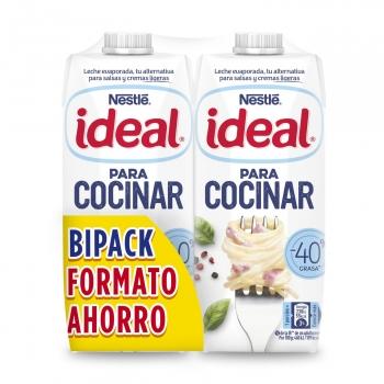 Leche evaporada desnatada Nestlé Ideal pack de 2 briks de 525 g.