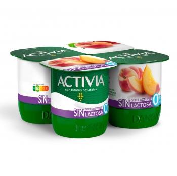 Yogur bífidus desnatado con melocotón Danone Activia sin lactosa pack de 4 unidades de 120 g.