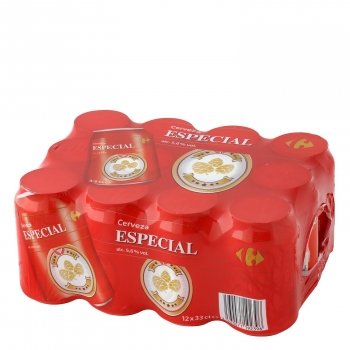 Cerveza Carrefour Especial pack de 12 latas de 33 cl.
