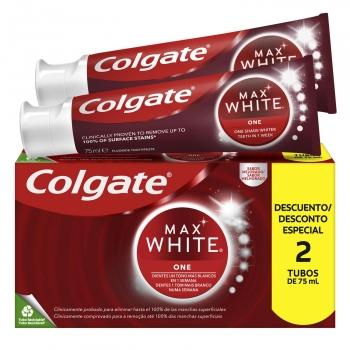 Dentífrico blanqueador one Max White Colgate pack de 2 unidades de 75 ml.