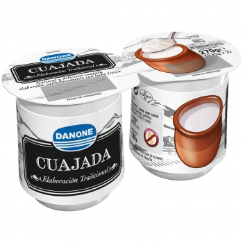 Cuajada Danone sin gluten pack de 2 unidades de 135 g.