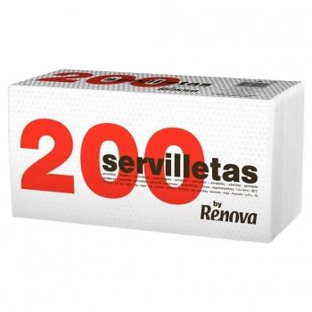 Set de Servilletas  1 capa de Celulosa RENOVA 200 200pz - Blancas