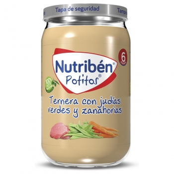 Tarrrito de ternera con judías verdes y zanahorias desde 6 meses Nutribén 235 g.