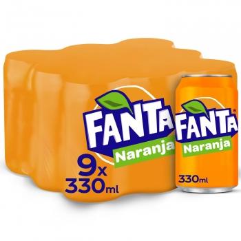 Fanta de naranja pack 9 latas de 33 cl.