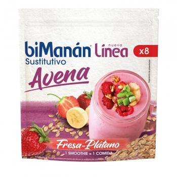 Smoothie sustitutivo avena sabor fresa y plátano Línea BiManán 280 g.