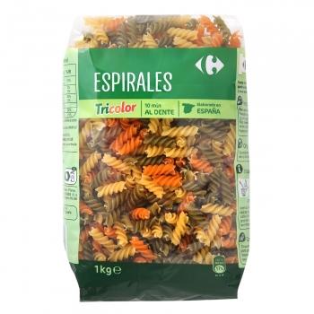 Espirales tricolor Carrefour 1 kg.