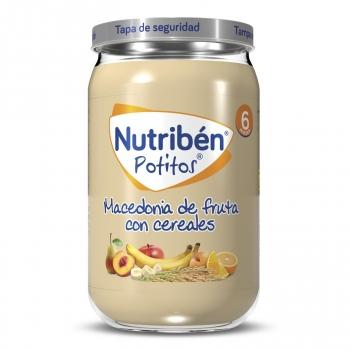 Tarrito de macedonia de frutas con cereales desde 6 meses Nutribén 250 g.