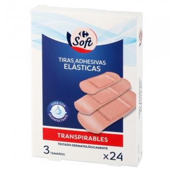 Tiras adhesivas elásticas transpirables Carrefour 24 ud.
