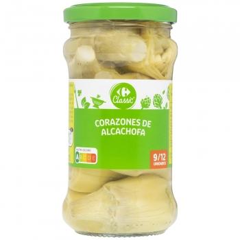 Corazones de alcachofas 9/12 unidades Carrefour sin lactosa 175 g.