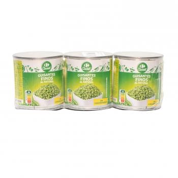 Guisantes muy finos Carrefour pack de 3 unidades de 140 g.