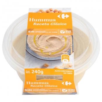 Hummus receta clásica Carrefour sin gluten sin lactosa 240 g.