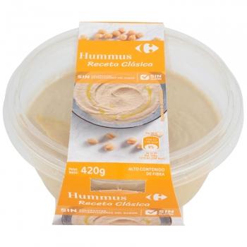 Hummus receta clásica Carrefour sin gluten sin lactosa 420 g.