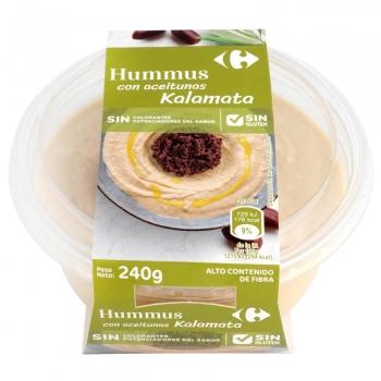 Hummus con aceitunas kalamata Carrefour sin gluten sin lactosa 240 g.