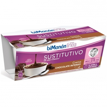 Crema de chocolate sustitutiva Bimanán Línea sin gluten pack de 2 unidades de 210 g.