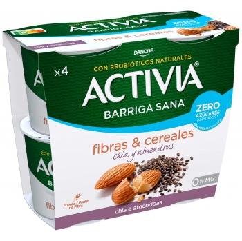 Yogur bífidus desnatado semillas con chía y almendras sin azúcar añadido Danone Activia pack de 4 unidades de 120 g.