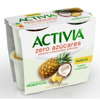 Yogur bífidus piña y coco sin azúcar añadido Danone Activia zero&doble pack de 4 unidades de 115 g.