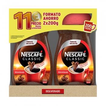 Café soluble descafeinado Nescafé Classic pack de 2 unidades de 200 g.