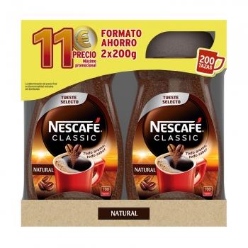 Café natural soluble Nescafé Classic pack de 2 unidades de 200 g.