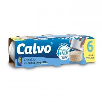 Atún claro en aceite de girasol Calvo pack de 6 latas de 52 g.