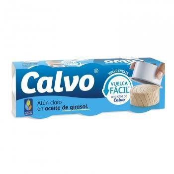 Atún claro en aceite de girasol Calvo pack 3 latas de 52 g.