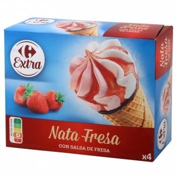 Conos con helado de nata y fresa con salsa de fresa Carrefour 4 ud.