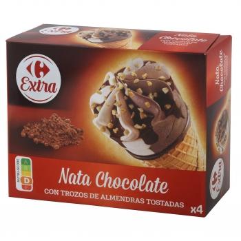 Conos con helado de nata y chocolate con trozos de almendras tostadasCarrefour 4 ud.