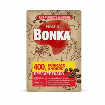 Café molido natural descafeinado cultivo sostenible Nestlé Bonka 400 g.