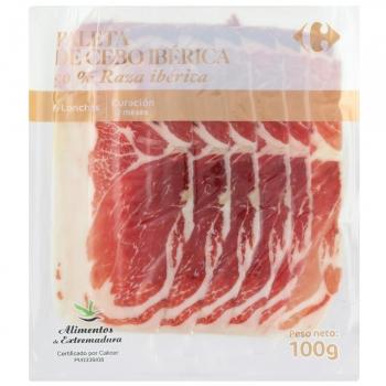 Paleta de cebo ibérica 50% raza ibérica en lonchas Carrefour 100 g