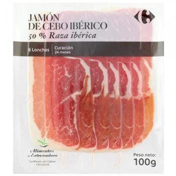 Jamón de cebo ibérico 50% raza ibérica en lonchas Carrefour 100 g