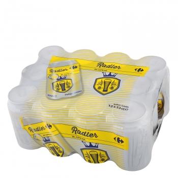 Cerveza Carrefour Radler con limón pack de 12 latas de 33 cl.