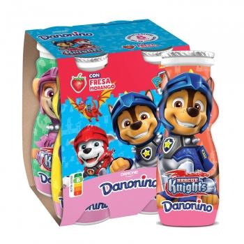 Yogur líquido de fresa Danone Danonino pack de 4 unidades de 100 g.
