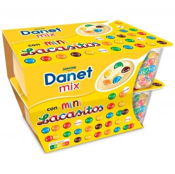Natillas con mini lacasitos Danone Danet Mix pack de 2 unidades de 122 g.