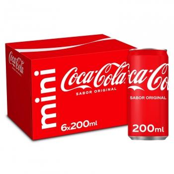 Coca Cola mini pack 6 latas 20 cl.