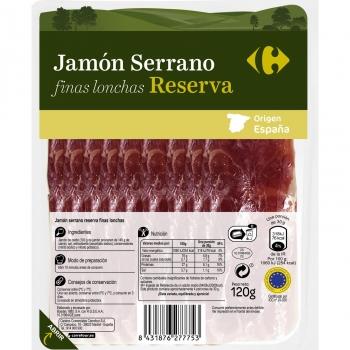 Jamón serrano reserva finas lonchas Carrefour sin lactosa 120 g.