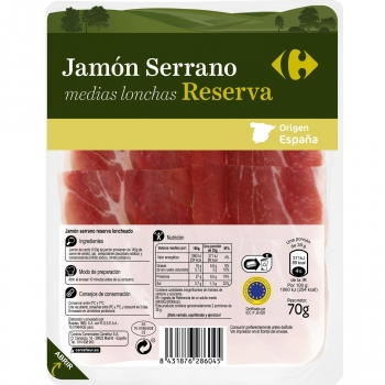 Jamón serrano reserva medias lonchas Carrefour sin lactosa 70 g.