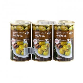 Aceitunas verdes rellenas de anchoa Carrefour pack de 3 unidades de 150 g.