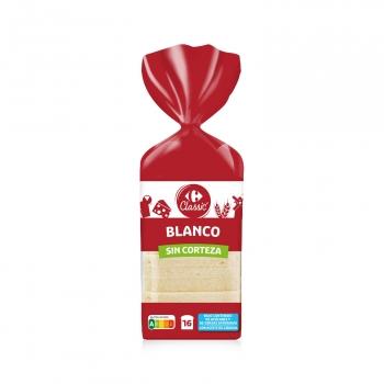 Pan de molde sin corteza Carrefour 450 g.