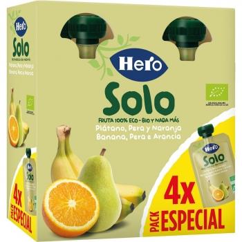 Preparado de plátano, pera y naranja ecológica Hero Solo pack 4 unidades de 100 g.