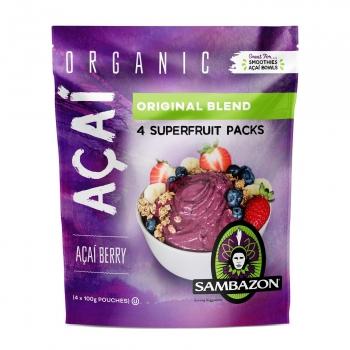 Puré de açaí berry ecológica Sambazon pack de 4 sobres de 100 g.