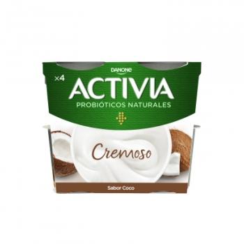 Yogur bífidus cremoso de coco Danone Activia sin gluten pack de 4 unidades de 120 g.