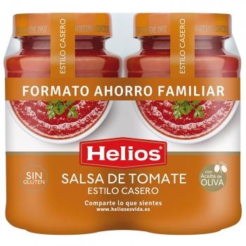 Salsa de tomate Helios sin gluten y sin lactosa pack de 2 tarros de 570 g.