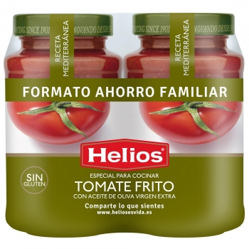 Salsa de tomate con aceite de oliva virgen extra Helios sin gluten y sin lactosa pack de 2 tarros de 560 g.