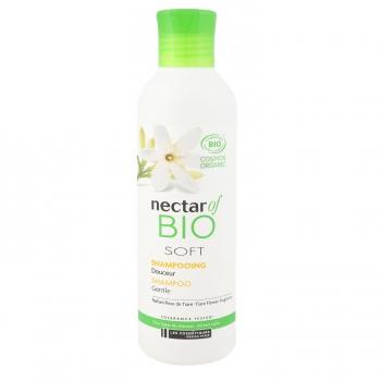 Champú suave con perfume de flor de tiaré y jugo de aloe vera ecologico Nectar Of Bio 200 ml.