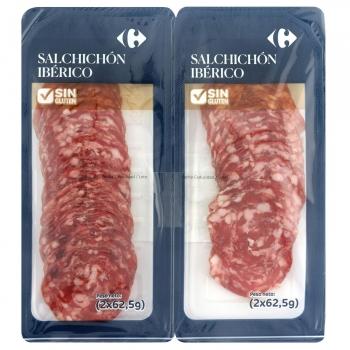 Salchichón ibérico extra Carrefour sin gluten pack de 2 unidades de 125 g