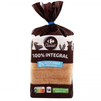 Pan de molde integral sin azúcar añadido Carrefour 460 g.