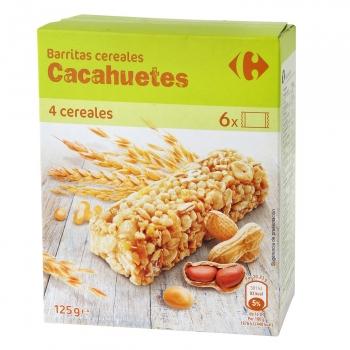 Barritas de cereales con cacahuetes Carrefour 150 g.
