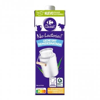 Leche semidesnatada Carrefour sin lactosa brik 1 l.