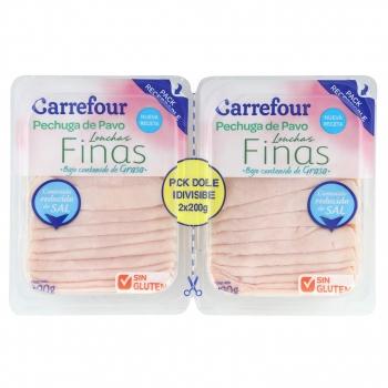 Pechuga de pavo en lonchas finas bajo contenido en grasas y reducido en sal Carefour sin gluten pack de 2 unidades de 200 g.