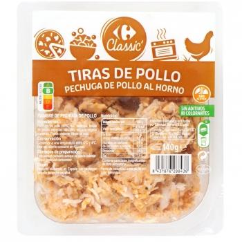 Pechuga de pollo al horno en tiras Carrefour sin gluten 140 g.