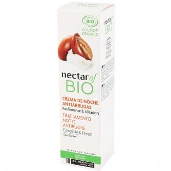 Crema de noche antiarrugas reafirmante & alisadora con manteca de karetiné para piles secas ecológica Nectar Of Bio 30 ml.